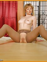 woman dressed in nylon stockings