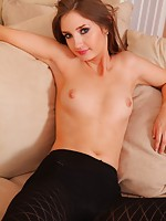 Debra K hides sexy black lingerie beneath her tight top and leather miniskirt.